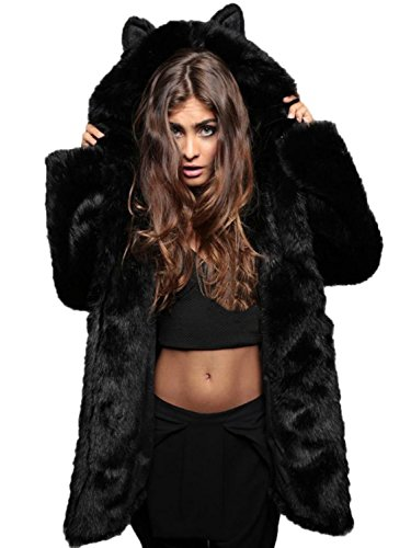 Choies Women's Black Cute Cat Ear Faux Fur Coat Hooded Fur Jacket Winter Fur Coat S