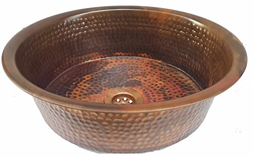 Egypt gift shops Rustic Industrial Decorative Oil Rubbed Counter Cabinet Top Mounting Vessel Fire Patina Natural Pure Copper Bath Pan Panning Bathroom Sink House Kitchen Repair Renovation ()