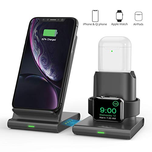 Wireless Charger, TECTAG 10W Fast 3 in 1 Wireless Charging Station for iPhone Apple Watch AirPods, Detachable and Magnetic Wireless Charger Stand for iPhone 11/11 Pro Max/X/XS Max/8 Grey Space Color