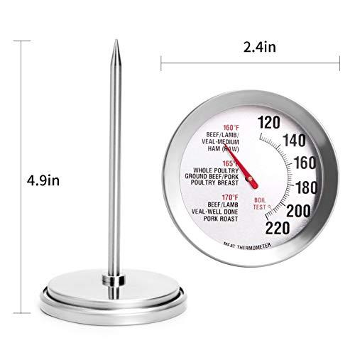 Clacce Digital Messen Sie die Temperatur des Fleisches Sofortlesens mit 1 Edelstahlsonden Display Temperatur Voreinstellen Alarm für Küche, Braten, BBQ (Silber)