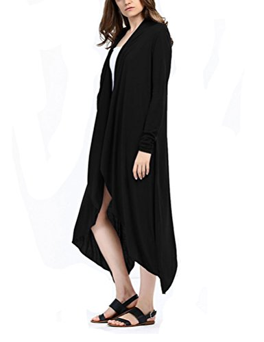 HowFitU Women Slim Long Trench Knit Open Stitch Cotton Cardigan Outwear M - Online Popular Malaysia