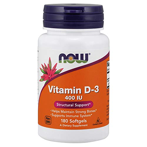 NOW Vitamin D-3 400IU, 180 Softgels (Pack of 3)