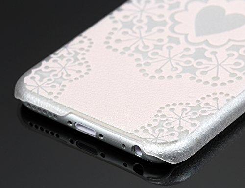 """JewelryWe Spitze Blumen Love Herz Harte Handy Case Schutzhülle Tasche Hülle Rückenschutzhülle für Apple iPhone 6(4,7""""), Transparent Hellpink"""