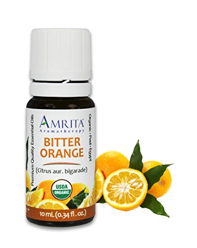 - Amrita Aromatherapy Organic Orange Bitter Essential Oil, 100% Pure Undiluted Citrus aur. Bigarade, Therapeutic Grade, Premium Quality Aromatherapy oil, Tested & Verified, 10ML