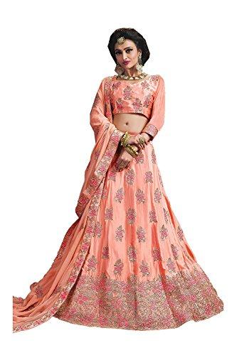 Indian Women Designer Wedding Peach Lehenga Choli Fabz-2627