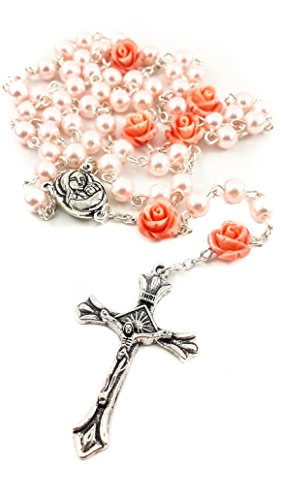 Catholic Pink Pearl Beads Rosary Necklace 6pcs Our Rose Holy Soil Medal & ()
