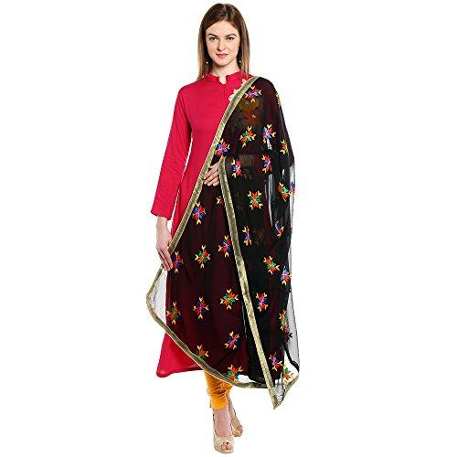 Dupatta Bazaar Indian Phulkari Embroidered Chiffon Dupatta Stole for Women/ Designer Ethnic Lace Border Scarf (Salwar Kameez Dupatta)