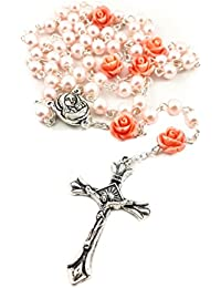 Catholic Pink Pearl Beads Rosary Necklace 6pcs Our Rose Holy Soil Medal & Cross