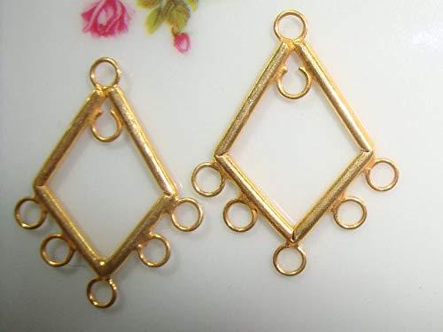 (Gold Vermeil Lovely Diamond Chandelier, 2 pcs, 25x20mm - PC-0042)