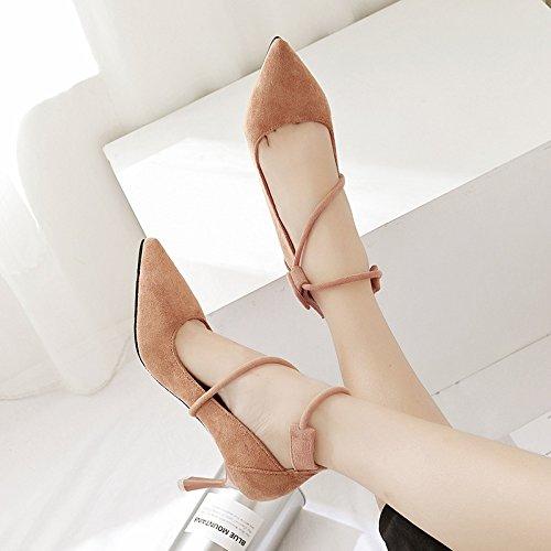 Anello scarpe coppia fine scarpe yalanshop tacco 35 alta alta scarpe Matt scarpe di con porta Presidente donne singole una piede tacco luce di punta di kaki xFXB8RqX