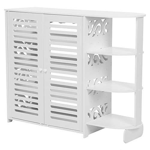 Yosooo 4-Tier Baroque Wood Plastic Board Shoe Cabinet,Storage Shelf Display Rack Organizer Cupboard with Flip Door(White )