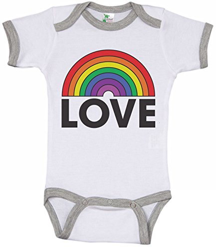 Rainbow Infant Ringer Onesie/Love/LGBT Friendly Bodysuit/Pride Baby (12-18M)