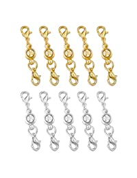 MOWOM 10~15 PCS Silver Gold Two Tone Alloy Bracelet Necklace Magnetic Lobster Clasp