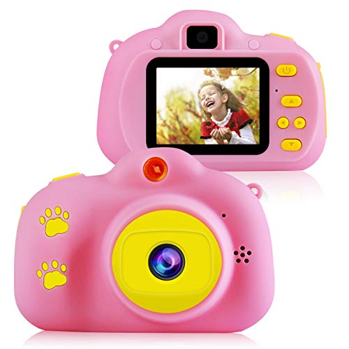 Kids Digital Camera for Girls, HD Mini Point and Shoot Camera for Children Beginners- Travel, Camping, Outdoor, School (Pink)