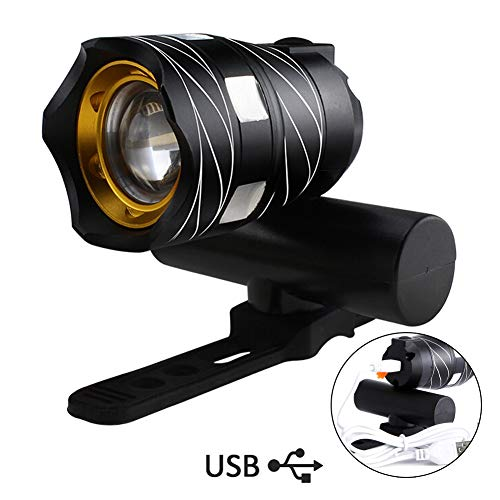 Yungo Luz de Bicicleta Delantera USB Recargable Impermeable con Zoom Beam Focusing, Mini Led Linterna Super Brillante…