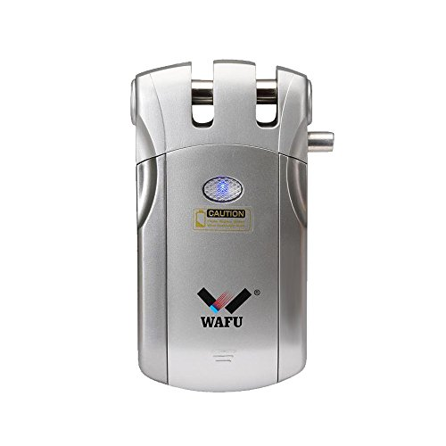 Control Security Electronic - Smart Door Lock, WAFU WF-018 Wireless Remote Control Lock Security Invisible Keyless Door Entry with 4 Remote Keys for Home Office Access Control Security System