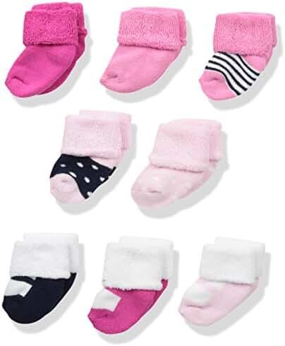 Luvable Friends Unisex 8 Pack Newborn Socks