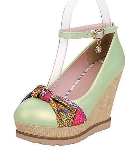ac1f22fef9a37f AllhqFashion Damen Mittler Absatz Gemischte Farbe Schnalle Rund Zehe Pumps  Schuhe Grün