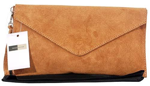 Embrayage de Design enveloppe, poignet, épaule ou sac bandoulière fabriqué à la main en cuir daim italien.Comprend un sac de rangement protecteur marque Tan