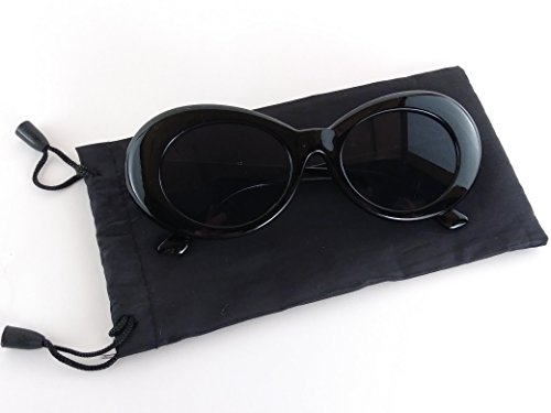 Clout Goggle Thick Retro Oval Sunglasses Fashionable Black Bag Stylish Colors - And Pink Sunglasses Black