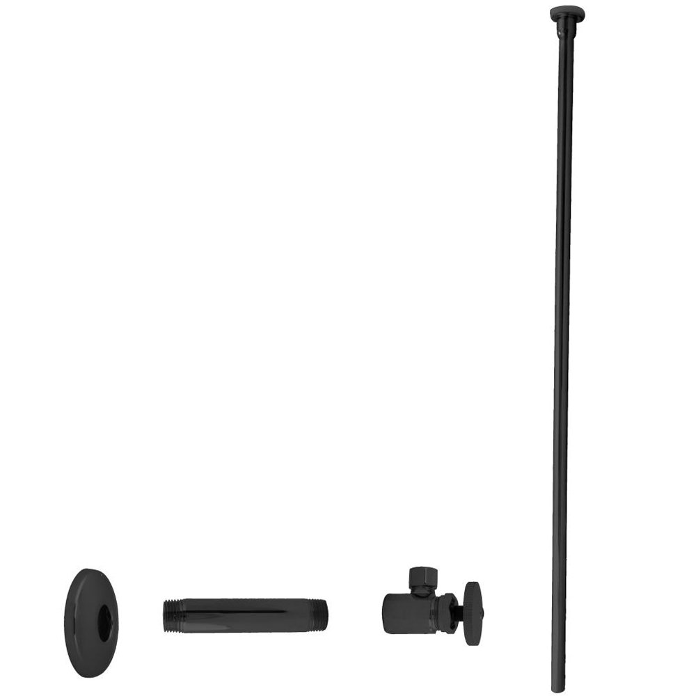 Westbrass Flat Head Toilet Kit with Round Handles, 1/2'' IPS x 3/8'' OD x 20'', Matte Black, D103KFH-62