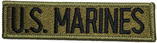 US Marines Military U.S. Army Tactical Name Tab Applique Embroidered Sew Iron on Emblem Badge Costume Patch - Green By Ranger Return