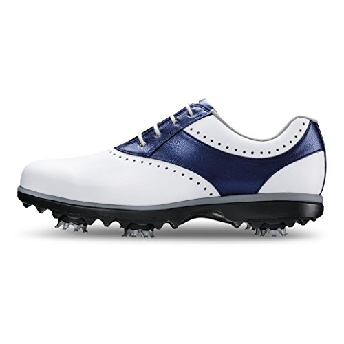 FootJoy Women's eMerge Spiked Golf Shoes, Close-out (7 B(M) US, White/Navy Linen 93900) by FootJoy (Image #4)