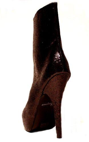 Erogance Glitzer Plateau Stiefeletten - Botas de Material Sintético para mujer 36 Negro - negro