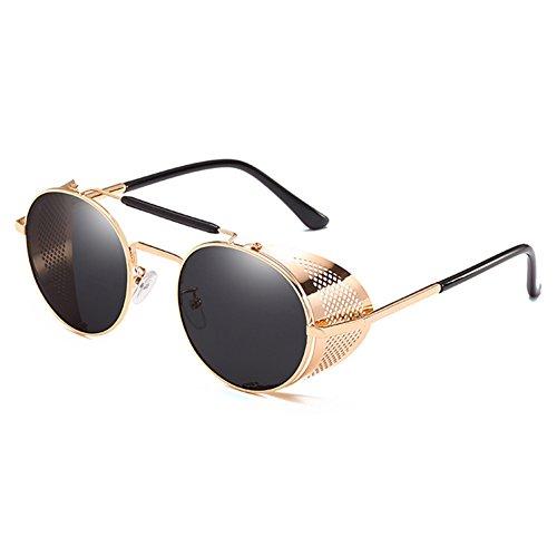 MEIHAOWEI Lunettes Steampunk C4 Gothique Métal Vintage Soleil de Hommes Cadre Dames Goggle B8AqxBwUr