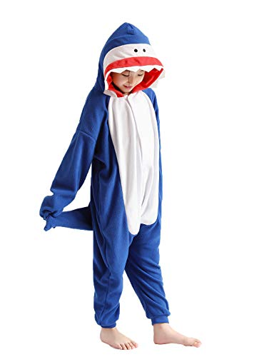 Girls and Boys Pajamas Soft Fleece Shark Onesie Halloween Costume 8-10 Years