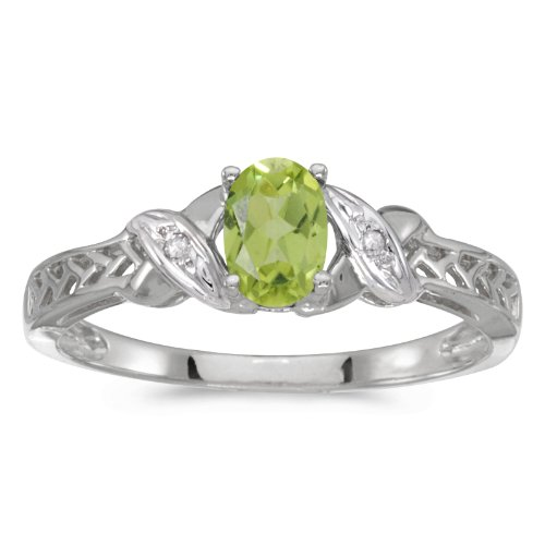 0.41 Carat ctw 10k Gold Oval Green Peridot & Diamond Crossover Infinity Antique Promise Fashion Ring - White-gold, Size 7 ()