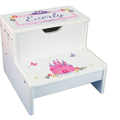 Personalized Princess Castle White Childrens Step Stool with Storage
