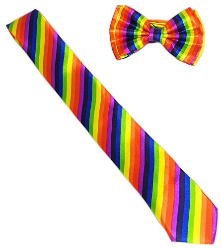 Neon Rainbow Bow Tie and Striped Skinny Neck Tie Set, Colorful Accessory (Gay Halloween Party Phoenix)