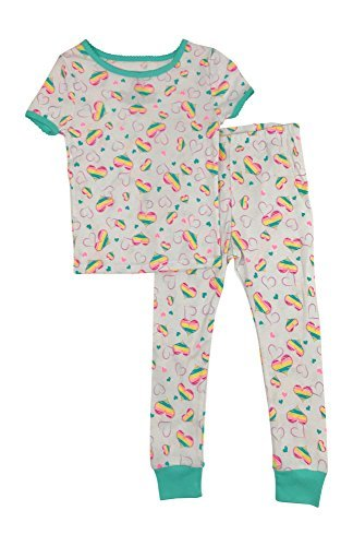 - Baby and Toddler Girls Snug Fit Graphic Pajama Shirt and Pants Two-Piece Set (5T, Rainbow hearts)