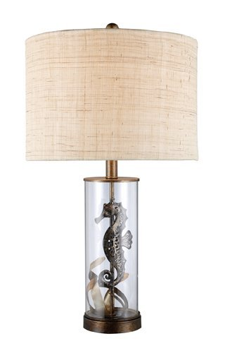 (Dimond D1980 15-Inch Width by 26-Inch Height Largo Table Lamp in Bronze and Clear Glass with Natural Linen Shade and Off - White Fabric Liner)