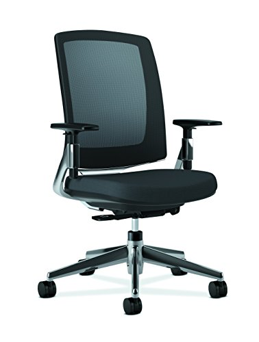 HON Lota Mid-Back Work Chair with Mesh Back and Polished Aluminum Base for Office or Computer Desk, Black