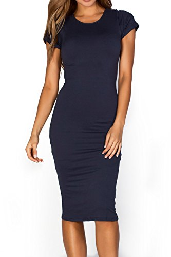 ICONOFLASH Short Sleeve Crew Neck Midi Bodycon Dress (Navy, (Sassy Jersey Dress)