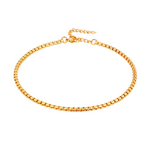 FaithHeart 3 MM Box Chain Anklet, 18K Gold Plated DIY Pearl Foot Chains Summer Jewelry for Men/Women, Customize Available (with Gift Box)