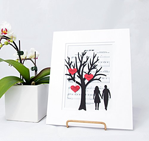 Personalized First Anniversary or Wedding Gift - 3D Paper Tree & Hearts Sheet Music - Custom 1st Anniversary Gift- Paper Anniversary -