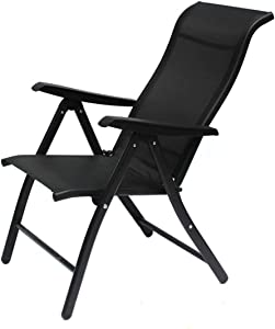 HTL Comfortable and Stable Heavy Duty Sun Lounger Garden Chairs Zero Gravity,Camping Garden Deck Chairs Folding Recliner Reclining Waterproof Chaise Sunloungers for Patio Pool Beach Lawn Niture,Black