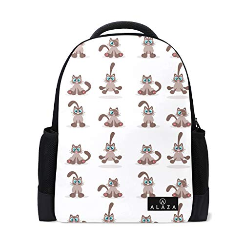 Fashion Student Backpack Siamese Cat Icons Classic College Bookbag Lightweight Travel Back Bag School Bookbag Casual Daypack Bag for Weekend Outdoor