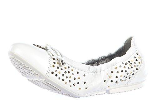 Hogan Mujeres Leather Ballet Flats Bailarinas Wrap 144 Borchie Blanco