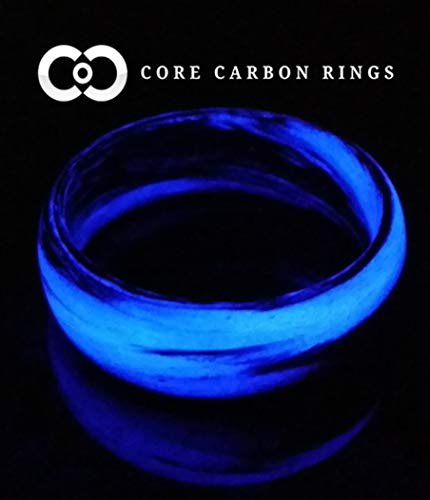 Men's or Women's Carbon Fiber Purple Marbled Glow Ring - Handcrafted - Black and Purple Glowing Band - Custom Band widths]()