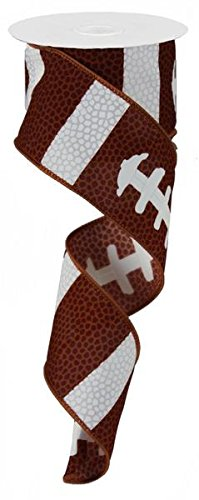 Football Laces Wired Ribbon : Brown White : 2.5