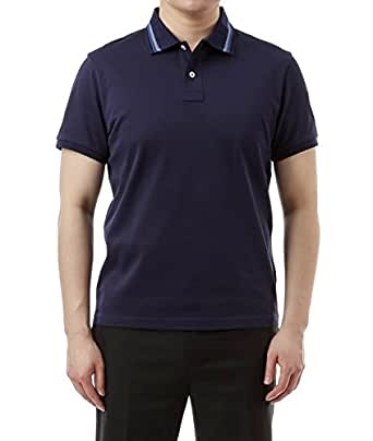 Wiberlux Moncler Men's Striped Collar Polo Shirt S Navy