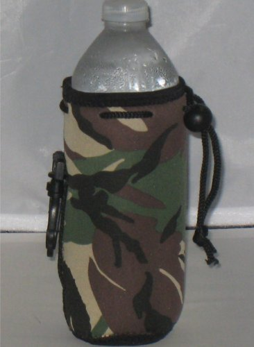 Water Bottle cooler with Drawstring & Clip, Camo