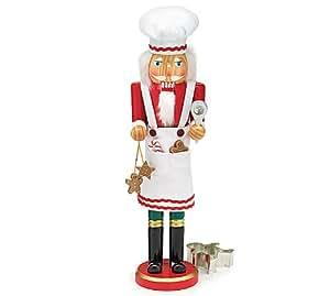 "Baker White Apron Hat Nutcracker 16"" Tall Hand Painted"