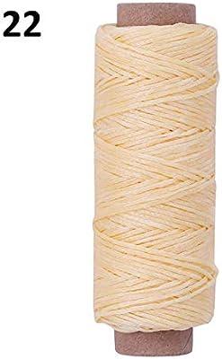 Sosa 50 Metros Útil 0.8mm 150D Cordón de Cuero Encerado para Hilo de Coser a Mano Línea de Costura Plana Encerada Herramientas de artesanía DIY, 22: Amazon.es: Hogar