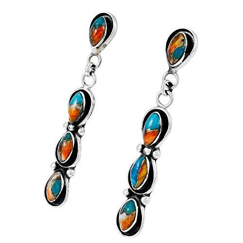 Southwest Style Earrings Genuine Turquoise 925 Sterling Silver dangle earring gemstone jewelry