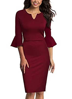 WOOSUNZE Womens Flounce Bell Sleeve Office Work Casual Pencil Dress